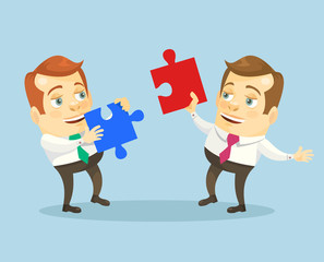 Teamwork. Office people with puzzle.  Vector flat cartoon illustration