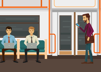 People characters with laptop and smartphone in train subway. Vector flat cartoon illustration