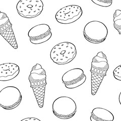 Sweet food snack black white graphic art sketch seamless pattern illustration vector