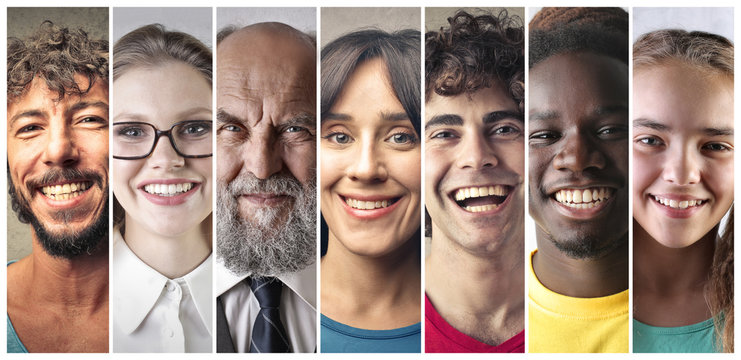 Smiling people of different countries