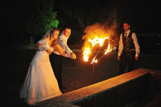 wedding couple background two fire heart