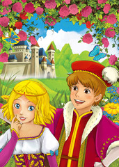 Cartoon scene of loving couple - prince and princess - castle in the background - illustration for children - for different fairy tales