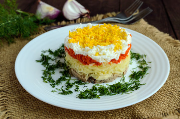 """Easy Diet salad layers in the shape of a circle (tuna in oil, boiled potatoes, carrots, eggs). Alternative Slavonic traditional dish """"Mimosa""""."""