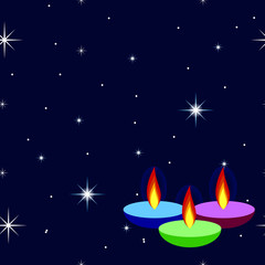 Happy Diwali background with ornamental lamps fire candle on background night sky with stars. Greeting card, invitation for community holiday.