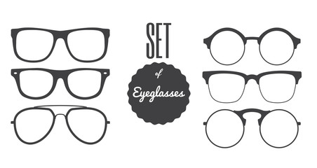 Set of Glasses and Sunglasses silhouettes