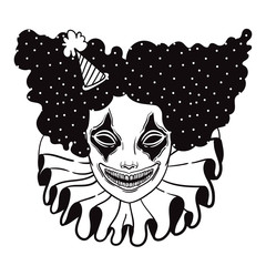 vector poster with an evil clown. linear illustration of Halloween. scary clown maniac of horror