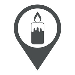 Icono plano localizacion vela encendida gris