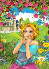 Cartoon beautiful girl standing near the castle in some garden full of flowers - illustration for children - for different fairy tales
