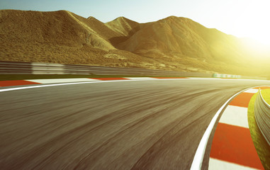 Wall Mural - Motion blurred race track .