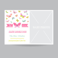 Baby Girl Arrival Card with a Butterfly Theme - with Place for Your Photo
