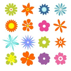 Set of flat icon flower