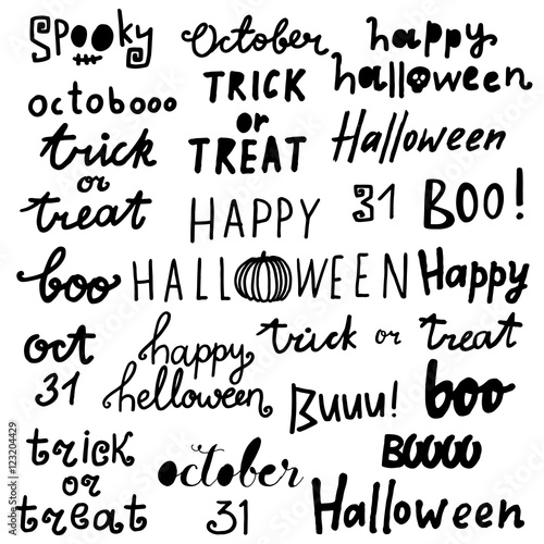 """""""Happy halloween lettering phrases. Quotes: Trick or treat ..."""
