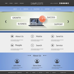Website Template with Business Header Design - Stock, News, Chart