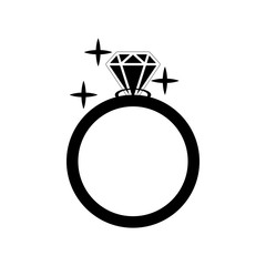Diamond engagement ring vector icon. Vector Illustration. Shiny crystal signs. Black circle silhouette isolated on white background. Flat fashion design element. Symbol engagement, gift, expensive.
