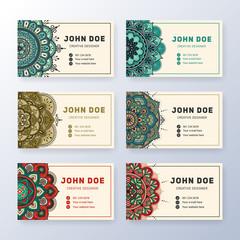 Creative useful business name card design. Vintage colored Mandala tag. Round ornament vector illustration.