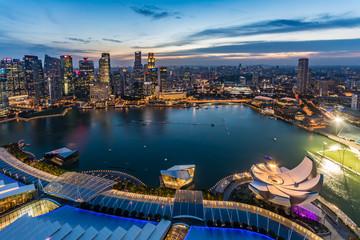 シンガポール・マリーナベイエリアの夕景