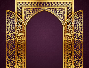Background with Opened Doors  Arabic Pattern