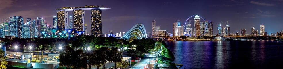 シンガポール・マリーナベイエリア 夜景 パノラマ