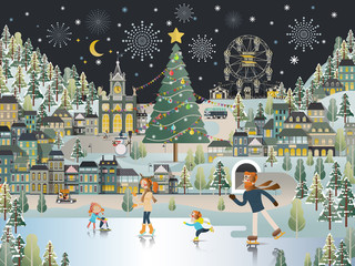 Snow Village Landscape Christmas night scene wallpaper