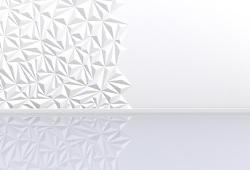 Empty room with white wall , 3D rendering