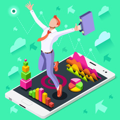 Isometric people isolated Businessman. Business success applicant white man candidate research infographic. Target Job Now Hiring concept. HR role & ambition. Businesspeople 3D character ambitious win