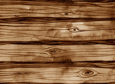 Watercolor dark brown wood texture background.