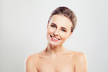 Beautiful Smiling Woman with Clear Skin and Cute Smile. Spa and