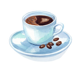 watercolor hand draw cup of coffee