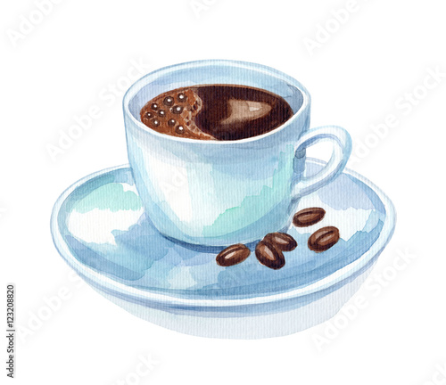 Watercolor hand draw cup of coffee stock photo and for Coffee watercolor