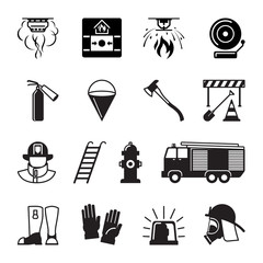 Firefighter black icons. Fireman and fire equipment, alarm and fire axe signs. Vector illustration