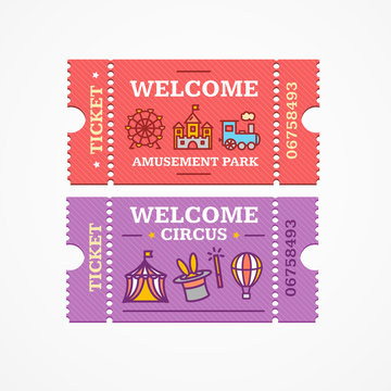 Circus and Amusement Park Tickets Flat Icon Set. Vector