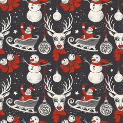 Vintage Hand-drawn Christmas Background with Deer, Santa Sleigh and Snowman