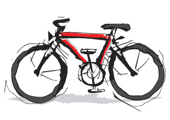 Red bicycle expressive stylized.