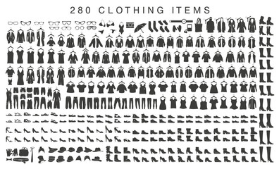 isolated silhouettes of men and women clothing