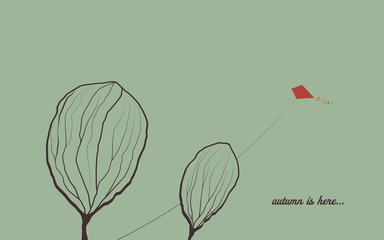 Autumn background with trees in wind. Melancholic emotion symbol vector wallpaper. Kite flying in the sky.