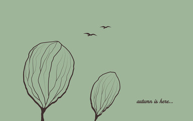 Autumn background with trees in wind. Melancholic emotion symbol vector wallpaper. Birds flying in the sky.