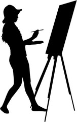 Artist painted the picture on an easel.