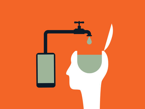 Internet or social networks brainwashing vector concept with smartphone and person head.