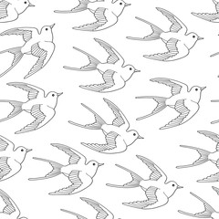 Seamless pattern with swallow bird flying hand drawn