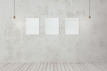 Blank photo frames on the wall