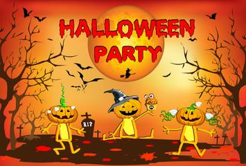Halloween Party, pumpkin kids, large moon, poster, fun, children's illustration, card, poster on an orange background.
