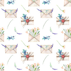 Seamless pattern with watercolor vintage mail envelopes and flowers, hand drawn on a white background