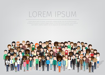 large group of different people. vector background