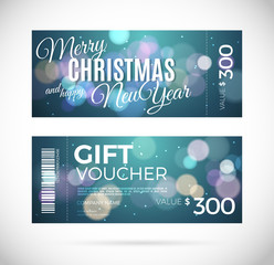 Merry Christmas and happy New Year gift voucher design,