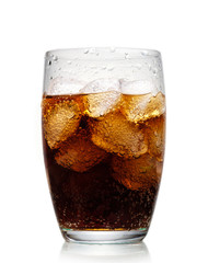 Glass of cola with ice on white background.