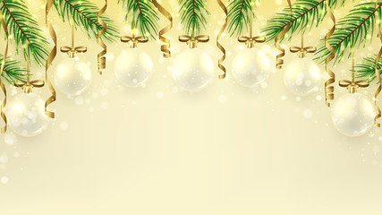 Christmas banner with serpentine and glass balls. Beautiful vector illustration with fir branches and shining light. Elegant background for xmas design. Happy New Year backdrop.