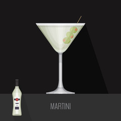 Glass of dry martini with olives on black background. Flat desig