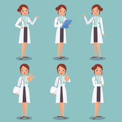 illustration set of cute female doctor character disign in vario