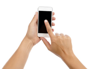 Woman holding smart phone for a selfie, blank screen, isolated on white background.