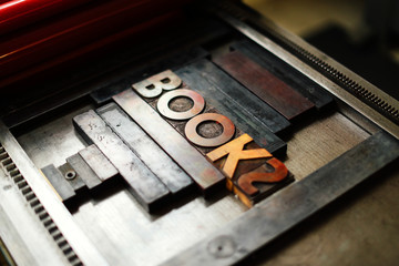 Close up wooden printing fonts